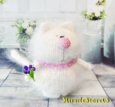 IRIS Kitty - AMIGURUMI Cat Kitty Kitten - Knit Mohair Cat - White Cat - Handmade Miniature Cat - Little Cat - Mohair Wool Cat - Gift Toy Cat