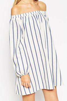 Stripes Slash Collar Long Sleeve Dress