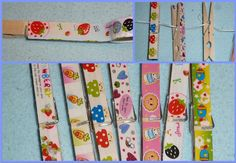 Pinzas decoradas con washi-tape (cortar la cinta sobrante con un cutter con cuidado.)  Clothespins decorated with washi-tape. (Carefully remove exceeding tape with a cutter.)