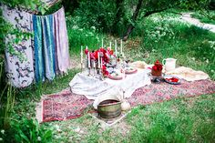 Bohemian romance picnic. This sweet picnic set-up is such a fun look! We pulled together a little roundup of our fave berry + gold hued party items and attire so you can get the look, too! Berry & Gold wedding inspiration. Bohemian romance. Gorgeous berry tones, mixed with a touch of metallic - perfect palette for fall.
