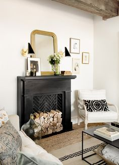 Georgiana Design : Photo My French Basement Bar faux fireplace will be similar but whitewashed wood, eventually with gas heater insert but I like the stacked logs in the interim