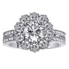 14k or 18k White Gold 2 1/2ct TDW 2-row Shank Diamond Halo Engagement Ring (14k Gold - Size 9.0), Women's