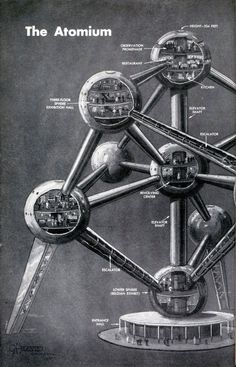 The Atomium, designed by André Waterkeyn (Brussels World Fair, The whole structure, which includes five habitable spheres, comprises the shape of a unit cell of an iron crystal magnified 165 billion times. Nagoya, The B 52's, Brussels Belgium, Restaurant Kitchen, Popular Mechanics, World's Fair, Retro, Art And Architecture, Art Museum