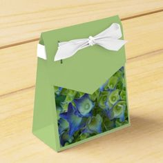 Blue Hydrangea Buds Party Favor Boxes #flowers #partyideas #showerideas