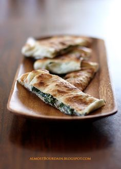 Gozleme (Turkish Pizza / Pancake) with Grilled Eggplant, Spinach and Ricotta
