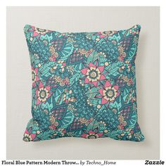 Shop Floral Blue Pattern Modern Throw Pillow created by Techno_Home. Modern Throw Pillows, Couch Pillows, Pillow Cover Design, Pillow Covers, Custom Pillows, Decorative Pillows, Knitted Fabric, Your Design, Make It Yourself