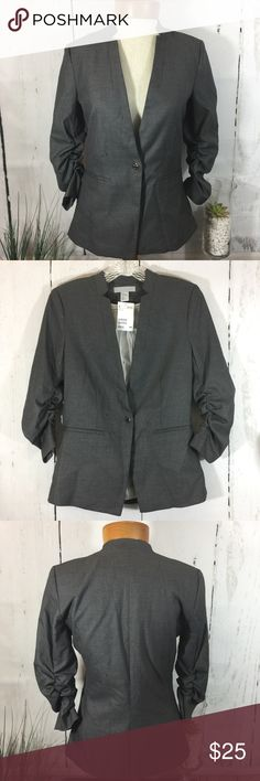NWT H&M Gray Blazer NWT H&M GRAY Blazer  Size: 4  Care Tag - Pictured   If you see a small black speck on the picture it is not a stain. I take pictures from my iPhone and that appears 😔  If you have any questions please feel free to ask me. H&M Jackets & Coats Blazers