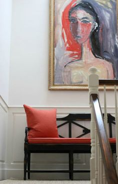 J.K. Kling Associés - traditional furniture, modern art, gold frame, pops of color, wainscoting