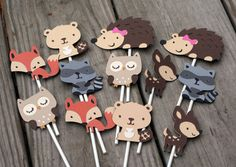 24 Woodland Animal Cupcake Toppers, forest animal, forest friends by AngiesDesignz