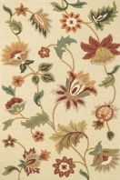 Pretty floral motifs dance in high-low dimension. Loop ground with spice toned tufted blooms.