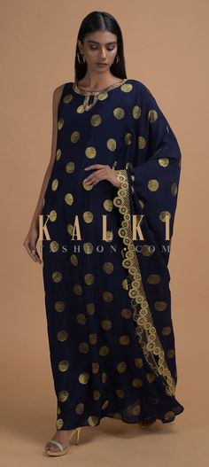 Buy Online from the link below. We ship worldwide (Free Shipping over US$100)  Click Anywhere to Tag Space Blue Kaftan Tunic In Silk With Brocade Weaved Buttis Online - Kalki Fashion Space blue kaftan tunic in silk with brocade weaved buttis.Embellished with pita zari on the neckline and fancy lace on the border