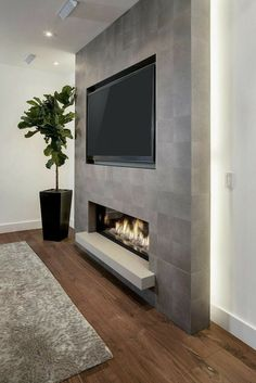 Living Room Decor Fireplace, Home Fireplace, Fireplace Remodel, Modern Fireplace, Fireplace Hearth, Wall Fireplaces, Contemporary Fireplace Designs, Basement Fireplace, Shiplap Fireplace