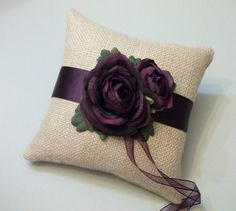 Burlap Ring Bearer Pillow with Eggplant by WhiteThistleBridal, $46.00