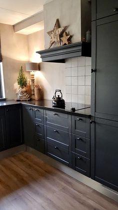 Blue Gray Kitchen Cabinets, Modern Kitchen Cabinets, Painting Kitchen Cabinets, Kitchen Interior, Black Cabinets, Beautiful Kitchen Designs, Beautiful Kitchens, Black Kitchens, Cool Kitchens