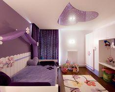 kinderzimmer mädchenzimmer-lila wände-vorhänge decken gestaltung-beleuchtung