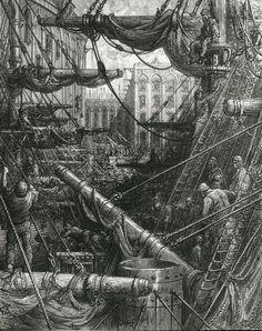London: A Pilgrimage: Inside the Docks - Gustave Doré, 1871-72. Wood engraving.