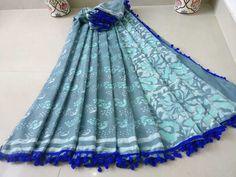 New Indian Blue Pure Mulmul Cotton Batik Saree Wedding Wear Sari With Blouse Saree Wedding, Wedding Wear, Indian Blue, India And Pakistan, Blouse Models, Casual Saree, Woman Clothing, Cotton Saree, Traditional Outfits