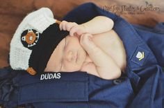 Crochet Coast Guard baby USCG dress blues United States Coast Guard, Baby Photography prop - Made to order