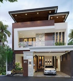 Donny Private House Design - Jakarta Timur- Quality house design of architectural services, experienced professional Bali Villa Tropical designs from Emporio Architect. Modern Exterior House Designs, Modern Small House Design, Modern House Facades, Modern Villa Design, Minimalist House Design, Modern Architecture House, Cool House Designs, Two Story House Design, 2 Storey House Design