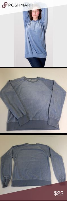 American Apparel Velour Sweatshirt, size small American Apparel Blue Velour Sweatshirt in size small. Beautiful super soft top that's made from 80% combed cotton and 20% polyester. Flat lay measure from shoulder to hem is 22.5, and from armpit to armpit is 19. This is considered a unisex top by American Apparel. In excellent condition, please ask if you have any questions. Tops Sweatshirts & Hoodies