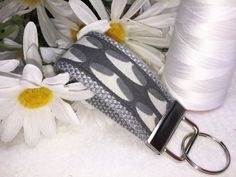 Gray MINI Fabric Key Fob, Mini Keychain, Gray Modern Design, Mini Fabric Keyring, Affordable Mother's Day Gift by PhenomenalWomenShop on Etsy