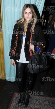 Cara Delevingne in Muubaa Narain Skinny Leather Jeans.