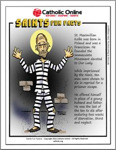 Saints Fun Facts- St. Maximilian Kolbe by Catholic Shopping .com | Catholic Shopping .com