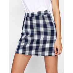 Tartan Plaid Zipper Back Skirt ❤ liked on Polyvore featuring skirts, blue plaid skirt, zip back skirt, plaid skirt, back zipper skirt and blue skirt
