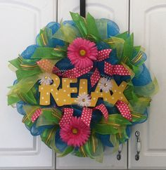 SOLD!! Relax Blue Deco Mesh Wreath, Price $70