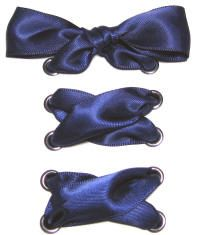 Wide Navy Blue Satin Ribbon Shoelaces