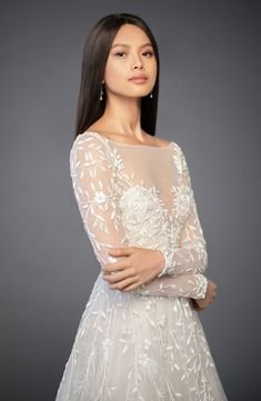 a4f0c38e4bf Lazaro Isabel Long Sleeve Beaded Tulle   Chiffon Gown