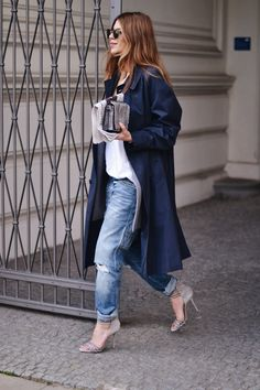 Trench Coat: Burberry . Distressed Denim: Closed . Bag: Dorothee Schumacher . Shoes: Casadei . Sunnies: Persol