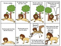 Lion & The Mouse Comprehension & Supplemental. by Jennifer Drake Small Stories For Kids, English Stories For Kids, Moral Stories For Kids, Sequencing Cards, Story Sequencing, Sequencing Activities, Shape Activities, Small English Story, Short Moral Stories