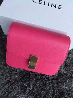 Free Shipping !Cheap 2015 Celine Bags Outlet-Celine Classic Box in Rose Goat Grain Leather
