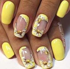 Nothing beats the yellow theme this summer. Be vibrant and bold with yellow matte and flower designs on your nails. The frame design of the flowers looks amazing on this design.