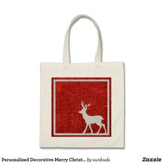 Personalized Decorative Merry Christmas Reindeer Tote Bag