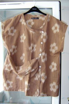 """*Gudrun Sjoden* Ikat flower 100% cotton quirky oversized waistcoat top L 46"""" in Clothes, Shoes & Accessories, Women's Clothing, Tops & Shirts 