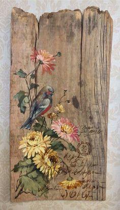 Arte Pallet, Wood Pallet Art, Reclaimed Wood Art, Pallet Painting, Tole Painting, Painting On Wood, Deco Nature, Fence Art, Rustic Art