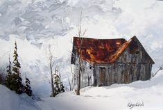 Original Oil Painting by James Lorimer Keirstead Landscape of Old Barn in the Snow 1970s.  via Etsy.