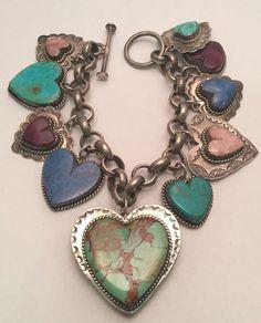 Joan Slifka Large Sterling Heart Bracelet With Turquoise Malachite