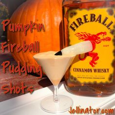 Pumpkin Pudding Shots with Fireball Whiskey Who doesn't love everything pumpkin this time of year? With Fireball whiskey being all the rage, it only seemed Fireball Jello Shots, Fireball Cocktails, Pudding Shot Recipes, Jello Pudding Shots, Fireball Recipes, Fireball Whiskey, Halloween Jello Shots, Cocktail Shots, Gourmet