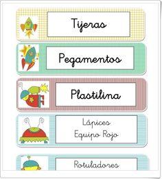 """Conjunto de """"Etiquetas del espacio"""" que sirven para etiquetar materiales y espacios en el aula de los más pequeños: Educación Infantil y primeros niveles de Primaria."""
