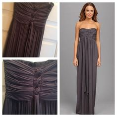 GABRIELLA ROCHA LILIANA MAXI DRESS So soft and beautiful! I wore this maxi once in Turks and Caicos (hence the sunburn)... It is stunning and very long. Has knot detailing at the bust, measurement from the lower bust seam to the bottom seam is 45 inches. This is for tall girls or those who wear platform wedges! Color is a dark gray, slate color. Perfect easy dress that makes you feel glam! Quality made, purchased new through Zappos. Condition is EXCELLENT USED CONDITION LIKE NEW.No trades or…