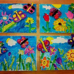 Clay Butterflies on canvas/Elementary Art (art teacher: v. giannetto)