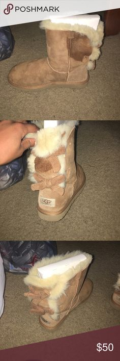 Corduroy Bailey Bow Uggs Bailey now uggs with a stain on them. Can probably be cleaned. Look brand new otherwise! UGG Shoes