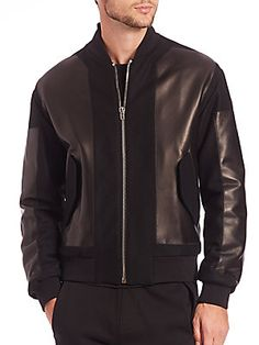 McQ Alexander McQueen Paneled Leather Bomber Jacket