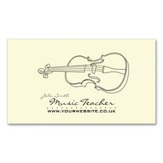 Elegant Business Card design aimed at Musicians/Bands/Clubs and Music Teachers. Design features a line drawing of a violin