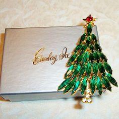 Vintage Eisenberg Ice Christmas Tree Brooch Pin, Original Box