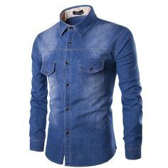 YUNY Mens Square Collar Long-Sleeve Trible Denim Embroidery Floral Western Shirt Dark Blue 2XL
