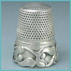 Antique German Sterling Silver Thimble w/Mistletoe Pattern; Circa 1900's